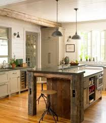 Aged Kitchen Island Design With Antique Pendant Lamps And Rustic Stools For Country Ideas