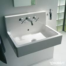 Duravit Vero Pedestal Sink by Duravit Vero Washbasin White With 3 Tap Holes Grounded With