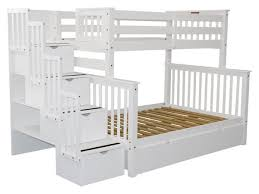 Bunk Beds Twin over Full Stairway White 2 Drawers