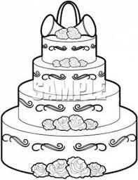 Royalty Free Clipart Image Black and White Wedding Cake