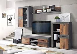 wohnwand grigor mit beleuchtung in betonoptik dunkelgrau und wood vintage 4 teilig forte anbauwand wohnzimmer mediawand tv wand
