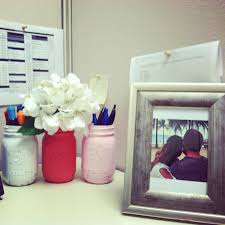 Cubicle Decoration Ideas In Office by Painted Vintage Mason Jars In Pretty Pinks Cubicle Decor By Kelly