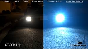 led vs hid vs stock light comparison noctrnl design unboxing