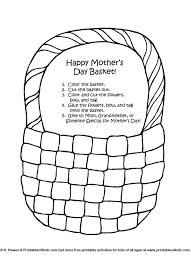 Mothers Day Basket Of Flowers Craft Printables For Kids Free Word Search Puzzles Coloring Pages And Other Activities