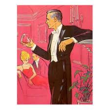 Postcard Vintage Cocktail Party Open House Brandy