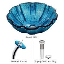 mediterranean seashell glass vessel sink and waterfall faucet set