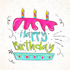 Creative Happy Birthday lettering design in cake shape with