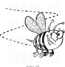 Vector Of A Cartoon Happy Bee Buzzing Around