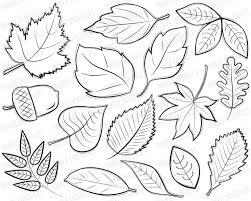 autumn leaves digital stamps clipart black by inkeedoodles