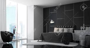 modernes schlafzimmer mit schwarz weiß 3d rendering image there eine schwarze wand sind boden möbel und weißen regal teppich es gibt große fenster