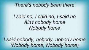 Jeff Lynne Nobody Home Lyrics