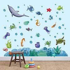 decalmile wandtattoo unter dem meer wandsticker regenbogen fisch ozean wandaufkleber kinderzimmer wohnzimmer schlafzimmer badezimmer wanddeko