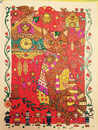 Coloring Cuckoo Clock Cat In Crayola Supertips And Gel Pen By Hazel Smithies From Creative Cats