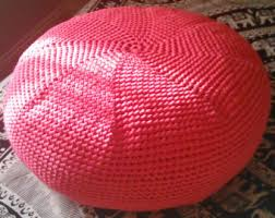 Knitted Crochet Pouf Pouffe Pink Ottoman Footstool In Deep Hot Coral Cotton Spiral Beanbag Floor
