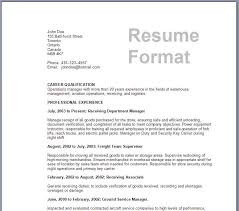 Classic Resume Format Samples