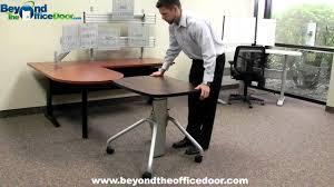Jesper Office Adjustable Desk by Newheights Gas Spring Lift Adjustable Height Desk W Rolling