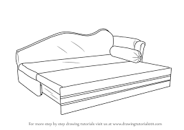 Learn How To Draw Sofa Cum Bed Furniture Step By Drawing Tutorials