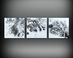 ORIGINAL Art Painting Acrylic Abstract Small Wall Black And White Triptych