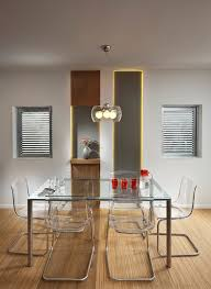Modern Entryway Table Dining Room With Plastic Chairs Open Shelving Square