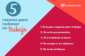 5 Razones Para Rechazar Un Trabajo