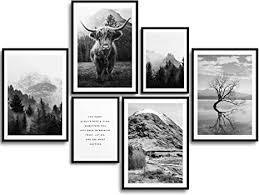 monoko wohnzimmer poster set premium bilder set für schlafzimmer stilvolle wandbilder 6er set ohne rahmen set schwarz weiss natur highland