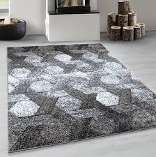 kurzflor wohnzimmerteppich hexagon motiv design teppich soft
