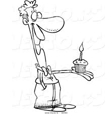 Vector of a Cartoon Man Holding a Birthday Cupcake Coloring Page Outline
