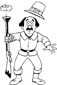 Pilgrim Accidentally Shooting Thanksgiving Coloring Pages