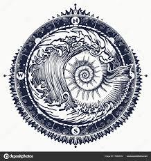 100 Sea Shell Design Big Wave And Sea Shell Tattoo And Tshirt Design Stock Vector