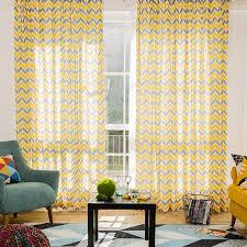 yellow and gray chevron print linen cotton blend contemporary long
