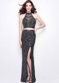 primavera 1546 gray sequin crop top with fitted skirt