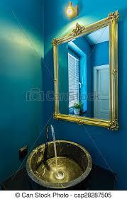 goldenes becken badezimmer blaues goldenes badezimmer