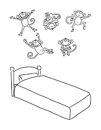 Coloring Pages 5 Five Little Monkeys Jumping Bed