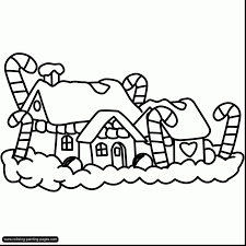 Terrific Christmas House Coloring Pages With Gingerbread And Sheets Printables