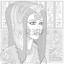 Anti Stress Coloring Book Page With Doodle Elements Stylized Ancient Queen Cleopatra Or Nefertiti And Egyptian Symbols Hieroglyphs On The