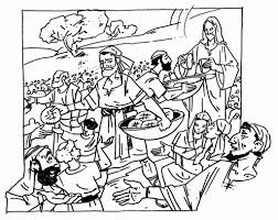 Jesus Feeds 5000 Coloring Pages New