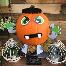 Decorate A Halloween Pumpkin With No Carving Involved Look For This Frankenstein Push In Kit At Your Local Home Depot Store Just Pin The Eyes