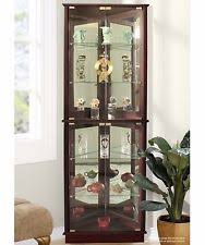 lighted curio cabinet storage corner 5 shelves mirrored