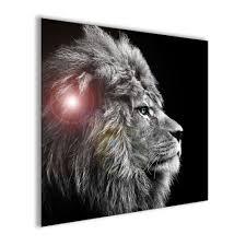 glasbild 20x20cm wohnzimmer löwe tiger leopard