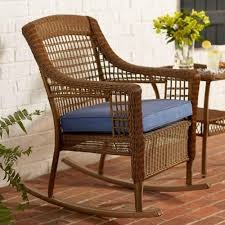Hampton Bay / Spring Haven Brown All-Weather Wicker Outdoor Patio Rocking  Chair With Sky Blue Cushion