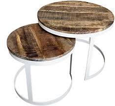 casamia couchtisch 2er set beistelltisch wohnzimmer tisch rund metall gestell altsilber o schwarz farbe reinweiß tabacco
