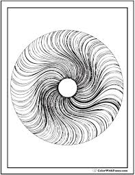 3D Geometric Coloring Page Circle With Radiant Swirls