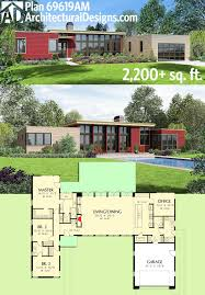 One Level Home Floor Plans Colors Plan 69619am 3 Bed Modern House Plan With Open Concept Layout