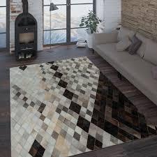 teppich wohnzimmer modern leder wolle muster streifen in