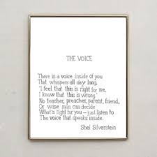 Shel Silverstein Poem The Voice Hand Lettered Water Color Print