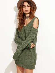 olive green cold shoulder ripped sweater dress shein sheinside