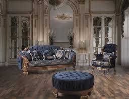 casa padrino luxus barock wohnzimmer sofa mit glitzersteinen und dekorativen kissen blau braun 240 x 90 x h 105 cm edel prunkvoll