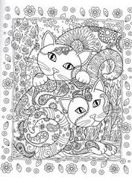 CATS Creative Cats Coloring Page Dover Abstract Doodle Zentangle Pages Colouring Adult Detailed Advanced Printable