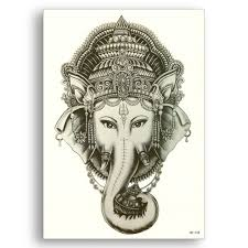 Fake Tattoo Water Transfer Waterproof Temporary Stickers Indian Elephant God Ganesha Women Men Sexy Glitter Body