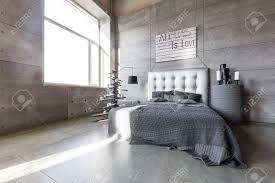 moderner leerer schlafzimmer im loft stil mit grauen farben und hölzernen mit weihnachtsbaum mit geschenken